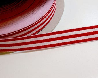 Red and White Stripe Grosgrain Ribbon 5/8 inch wide x 10 yards, Grosgrain Striped Ribbon