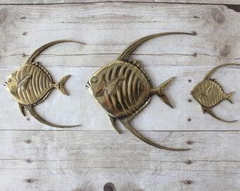 Brass Fish Wall Hanging Set Of 3 / Boho Bathroom Decor / Angel Fish  Nautical Beach