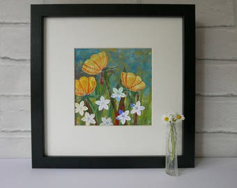 small framed art, wall art, picture of flowers, summer meadow, home and living, gift for a gardener, housewarming gift, Buttercups & Daisies
