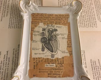 Vintage Heart Art Wall Plaque Candy Tray FREE US SHIPPING