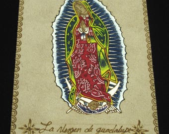 Vintage Our Lady Of Guadalupe Leather Patch
