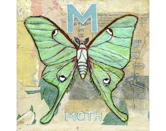 Moth Decor, Art on Wood, Butterfly Painting, Original Artwork 8X8   Butterfly Moth