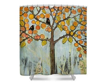 Bathroom Decor, Shower Curtain, Tree of Life, Boho Decor, Tree with Birds, Oversized Print, Wedding Gift, Gift of Couple