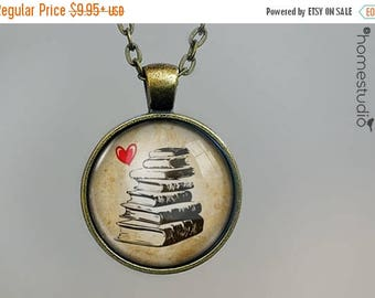 ON SALE - Book Stack : Glass Dome Necklace, Pendant or Keychain Key Ring. Gift Present metal round art photo jewelry by HomeStudio