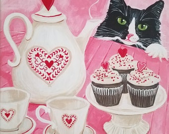 Valentine's Day - Cat Painting - Original Cat Art - Tea Party - Tuxedo Cat Art - Tea Set - Hearts - Cupcakes - Cat Folk Art - Pink Wall Art