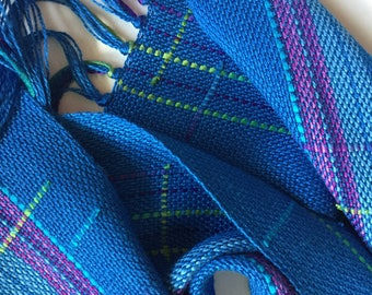 handwoven scarf in blues lime and a perfect purple jazz