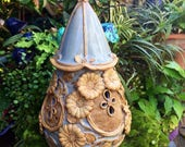 Ceramic Fairy House - Flower Fairy Garden Home - Blue Faery House - Handcrafted Fairy House - Gnome Home - Toad Abode - Miniature Fairy