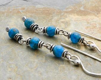 Teal Blue Apatite Earrings - Blue Gemstone Earrings - Teal Apatite Dangle Earrings - Sterling Silver - Lever Back or Hook Ear Wires - #4861