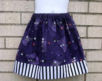 Purple Nightmare before Christmas girls skirt, Jack Skellington, 6M to size 14