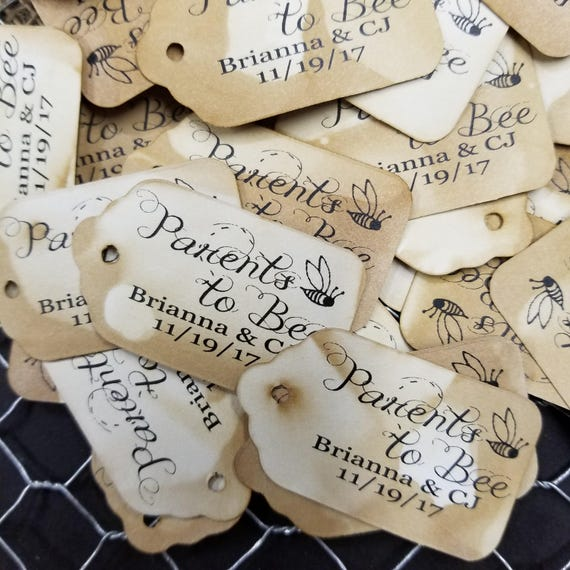 """PARENTS to BEE SMALL Personalized Favor 2""""  Tag baby shower adoption shower new baby"""