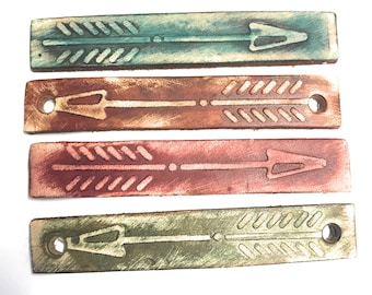 Boho Leather Arrow Rectangle  Charm Focal  - Set of 2