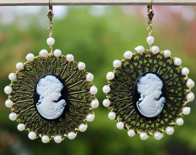 Cameo and Pearl Earrings