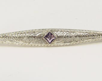 White Gold Filigree and Amethyst Bar-pin