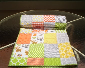 Handmade Baby quilt, rustic baby quilt, baby boy bedding, baby girl quilt, toddler,yellow,lime,orange, grey, fox, fawn, racoon,Wee Woodland2