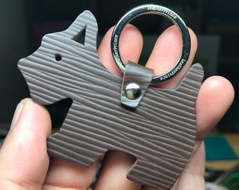 Special Offer - Ready Stock - Small size - 10th Anniversary silhouette dog Epi leather keychain ( Dark brown )