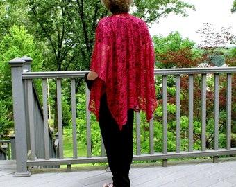 Shawl, Caftan, Shrug, Kimono, Wrap, Ruana, Beach Coverup--Maroon Lace--Romantic and Alluring--See Through--One Size