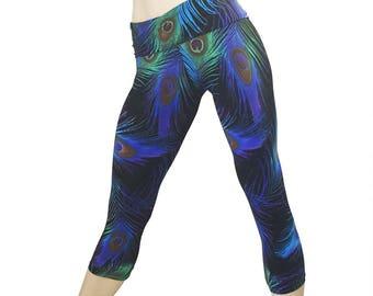 SALE m/l - Midnight Peacock Pants Hot Yoga Fitness Capri Fold Over Waist/High Waisted SXYfitness