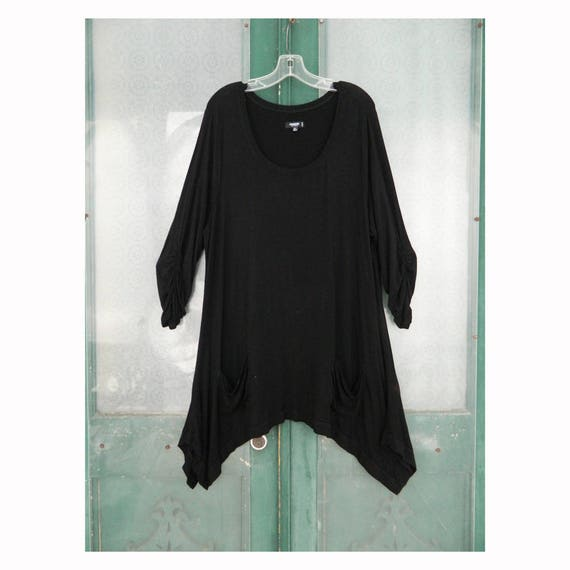 Premise Studio Woman Long Pullover Tunic -2X- Black Rayon/Spandex Jersey
