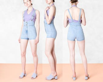 FREDERICKS of HOLLYWOOD OVERALL shorts denim vintage 90S playsuit romper bodycon Small / Xs better stay together