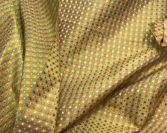 Silk Taffeta Fabric - Green & Orange Gold Jacquard Check - fat 1/4