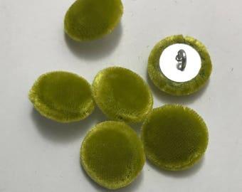 """Yellow Green SILK VELVET Fabric Buttons - Hand Made Buttons - set of 6 - 5/8"""""""