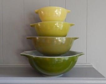 FULL SET Verde PYREX 441,442,443, 444 Cinderella Nesting Mixing Bowl Set