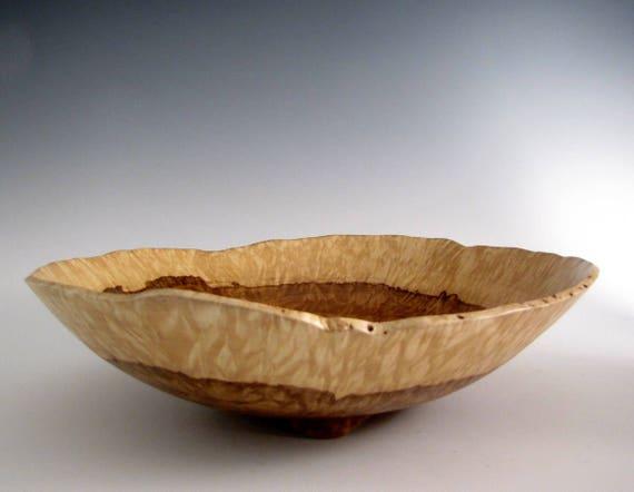 Wood bowl large chestnut oak burl turned fruit