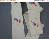 20% Sale - Antique 1900s Silk Ribbon with Embroidered Flags, 1+ yard, 1-5/8 inch wide
