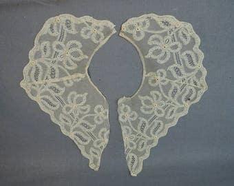 Antique Lace Collar, 1900s Edwardian 2pc  Vintage Blouse or Dress Collar