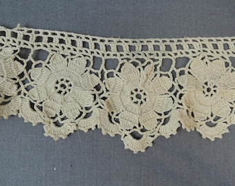 Antique Handmade Crochet Lace, Ivory Cotton Floral, 30 inches x 2-1/2 inches wide