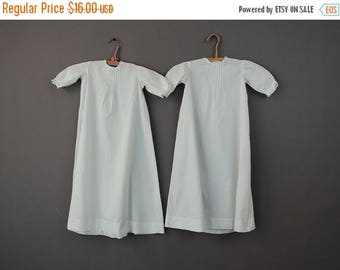 20% Sale - Antique 1900s 2 Baby Gowns, Identical White Cotton  Pleats & Lace Trim, 25 inch chest, Vintage Baby Clothing