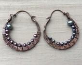 Hoop Earrings,  Copper Earrings, Pearl Earrings, Copper Hoop Earrings,  Rustic Jewelry, Daniellerosebean Hoops, Hoop Earrings, Hammered Hoop