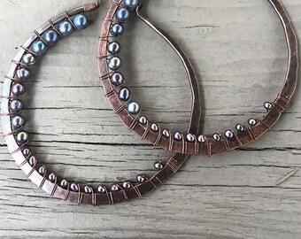 Large Hoop Earrings,  Copper Earrings, Pearl Earrings, Copper Hoop Earrings,  Rustic Jewelry, Daniellerosebean Big Hoops, Hoop Earrings