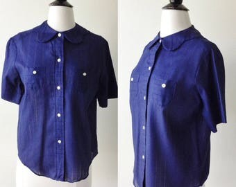1950s blouse // Navy Blue Notched Peter pan collar dead stock