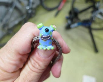 Alien Big Hole Lampwork Bead - periwinkle