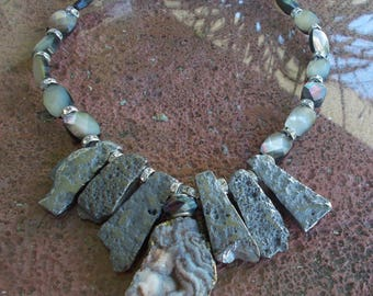Druzy,  Pyrite and Shell Necklace