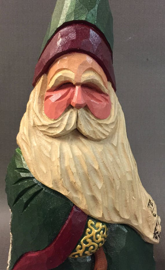 HAND CARVED original Santa w/ cane from 100 year old Cottonwood Bark.