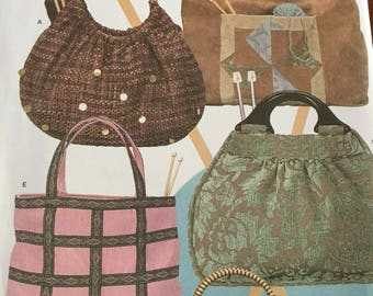 Simplicity 4338 Knitting Bags in 5 Styles, Purse Bag pattern uncut  Easy Sewing Pattern