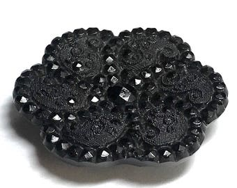 Antique Black Glass Button - Scalloped Edges - Embedded Four Way Box Shank