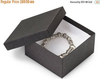 STOREWIDE SALE 100 Pack 3.5 X 3.5 X 2 Inch Matte Black Size Cotton Filled Jewelry Presentation Gift Boxes
