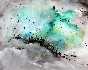 Ink abstract painting on canvas A4 -   tuquoise and teal cloud city