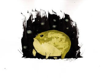 Frog painting- 8x12in, A4, 20x30cm ink painting -  rainfrog enjoying the fireflies
