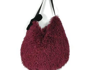 FREE SHIPPING Burgundy Fur Bag Holiday Gift Burgundy Faux Fur Hobo Bag Vegan Fur Purses Vegan Fur Handbags Wine Hobo Bag Maroon Hobo Bag