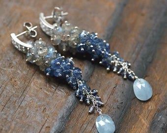 Summer SALE Labradorite, Kyanite, Iolite, Aquamarine gemstone cluster long earrings, CZ pave 925 Silver ear posts ... WASULA Earrings