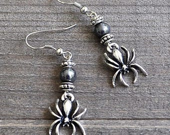 ON SALE Silver Spider Earrings Gothic Spider Jewelry Spider Charms With Hematite Beads Cosplay Spiderman or Spidergirl Earrings