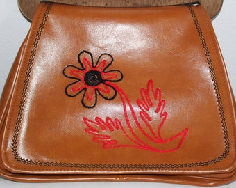 Vintage 1970's Embroidered Faux Leather Vinyl Wood Handled Purse