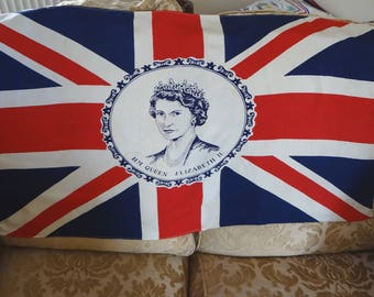 Coronation Flag Banner Queen Elizabeth II Commemorative Cotton and Rayon 1953 - EnglishPreserves