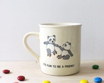 Panda Friends. Vintage 1980s Hallmark mug, Japan.