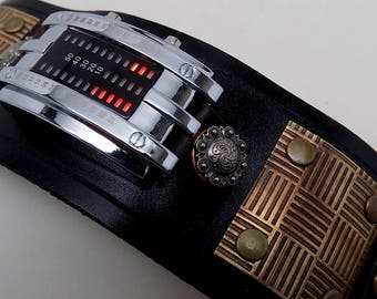 Steampunk watch. Steampunk wrist watch. Steampunk men watch.Led watch. Leather cuff watch.