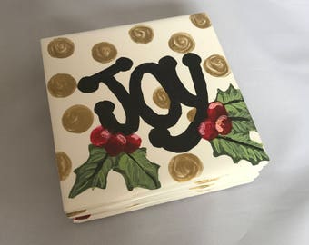 JOY! Hand-painted ceramic tile coasters - set of four